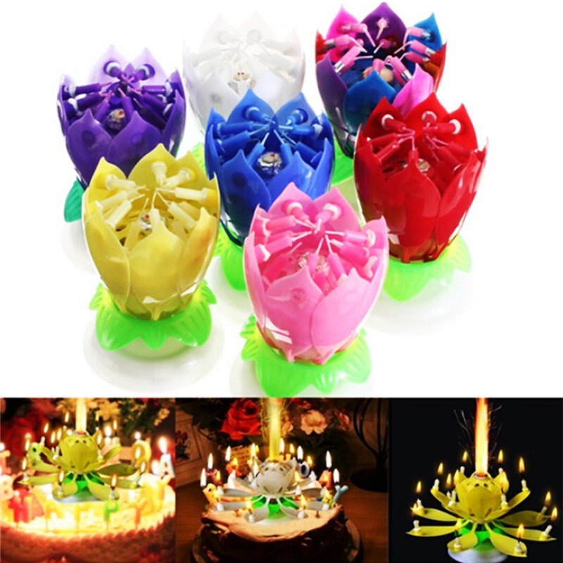 New Art Musical Candle Lotus Flower Happy Birthday Party Gift Rotating Lights Decoration 8 14 Candles Lamp Cake Tools QB874164