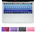 """EU Spanish Gradient Colors Ultra Slim Keyboard Cover for New MacBook Pro 13"""" 15"""" Retina with Touch Bar(2016 Release) Protector"""