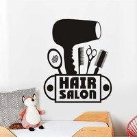 Фен Ножницы гребень зеркало винил Наклейки на стену для детской комнаты Новая мода на стены для волос Salon магазин украшения дома