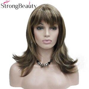 Image 1 - StrongBeauty ילדה סינטטי טבעי גל ארוך שיער אדום חום קוספליי פאות לנשים 5 צבעים
