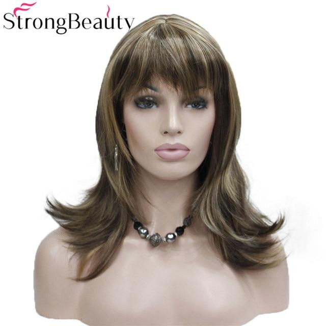 StrongBeauty ילדה סינטטי טבעי גל ארוך שיער אדום חום קוספליי פאות לנשים 5 צבעים