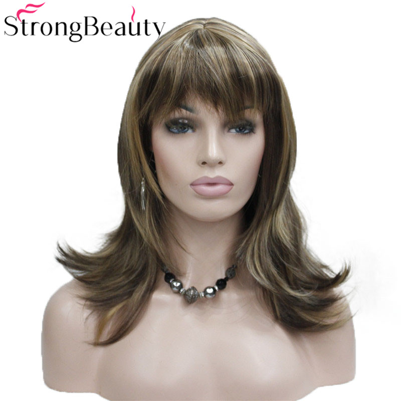 StrongBeauty Girl Synthetic Natural Wave Long Hair Red Brown Cosplay Wigs For Women 5 Colors