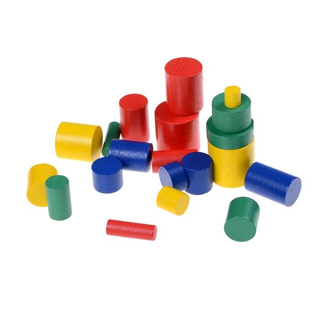 Venta caliente 2017 nuevos materiales Montessori bloque cilindro madera enseñanza geometría juguete educativo para niños
