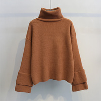 New 2018 Women Turtleneck Sweater New Korean Loose Pullovers Student Flare Sleeve Sweaters