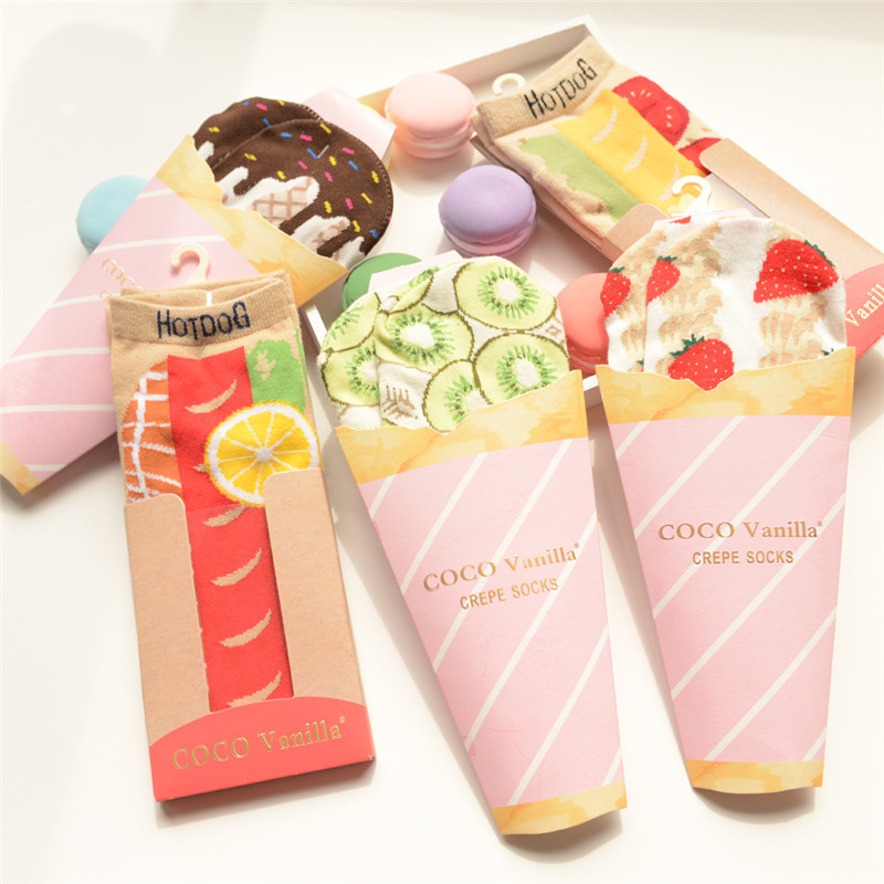 ARMKIN Harajuku Casual Fruit Socks Hot Dog/banana/strawberry/chocolate Women Socks Japanese Kawaii Socks Summer Ankle Socks