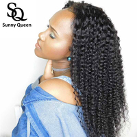 Kinky Curly Silk Base Wigs Pre Plucked Lace Front Human Hair Wigs For Women Natural Black Brazilian Wig Sunny Queen Remy