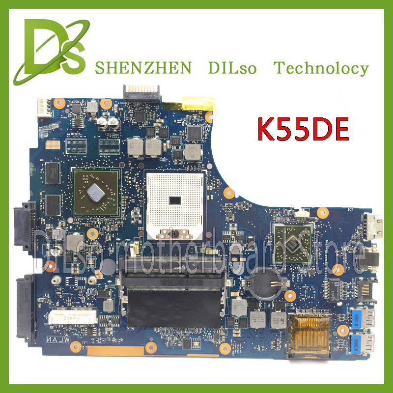 SHUOHU K55DE for ASUS original K55DE laptop motherboard REV2.0 PM 100% tested motherboard socket FS1 744009 501 744009 001 for hp probook 640 g1 650 g1 motherboard socket 947 hm87 ddr3l tested working
