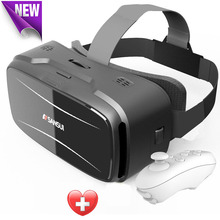 Vr box headset Sansui 3d glasses/virtual reality goggles google cardboard gear vr + Smart Bluetooth Remote Control Gamepad