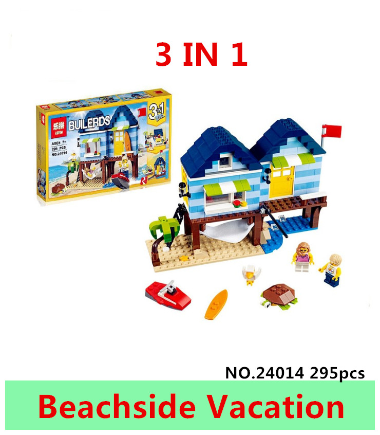 LEPIN 24014 295pcs City Creator 3 in 1 Beachside Vacation action figures Building Block Bricks toys For Children gift brinquedos lepin city creator 3 in 1 beachside vacation building blocks bricks kids model toys for children compatible with lego gift kid