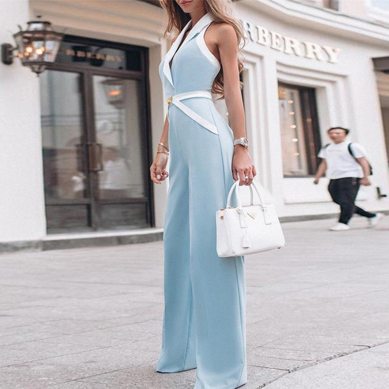 Women Summer Elegant Workwear OL Rompers Female Formal Overalls Contrast Binding Halter Sexy Wide Leg   Jumpsuit