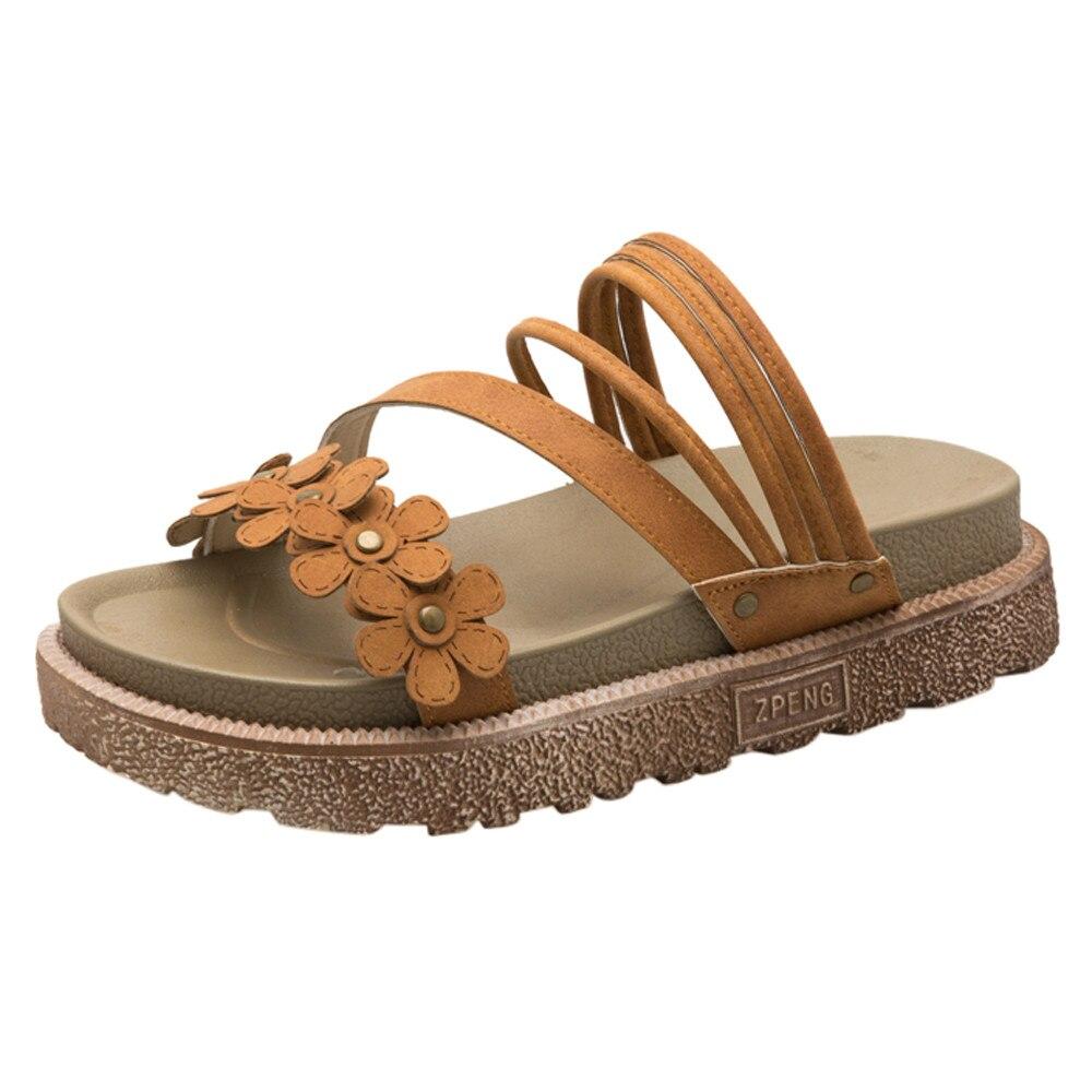 XINIU Для женщин Платформа цветочный обувь с открытым носком в богемном стиле пляжные противобуксовочные плоские сандалии для девочек 2018 нов...