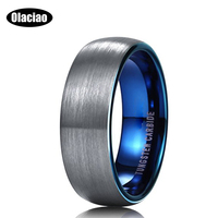 Free Shipping 8mm Blue Domed Tungsten Carbide Wedding Band Ring Brushed Polish Finished Comfort Fit Fashion