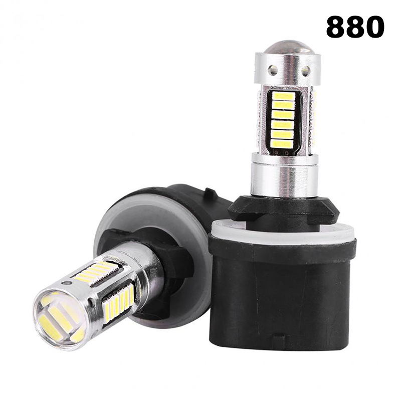 2pcs High Power DRL Lamps 6500K White 30SMD 4014 881 880 H27 LED Replacement Bulbs For Car Fog Lights Daytime Running Lights 12V