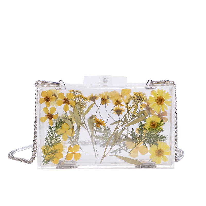 Luxury Design Really Flower Evening Bags Wedding Banquet Party Transparent Clutch Feather Bride Crossbody Handbag Clear Hard Box stylish flower feather pleated lace fascinator headband wedding banquet party cocktail hat