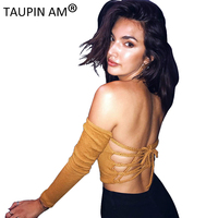 TAUPIN AM Backless Lace Up Knitted Crop Tops Women Sexy Long Sleeve Autumn Tops Tees Yellow
