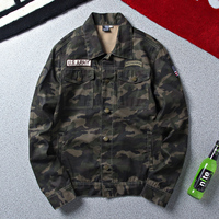 LENSTID Brand Autumn Army Military Denim Jacket Men Camouflage Tactical Camouflage Casual Fashion Bomber Jeans Jackets Cowboy