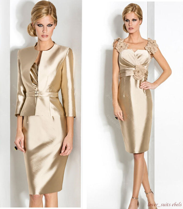 Cstm 2 Piece Gold Mother Of The Bride Groom Dress Suits With Jacket