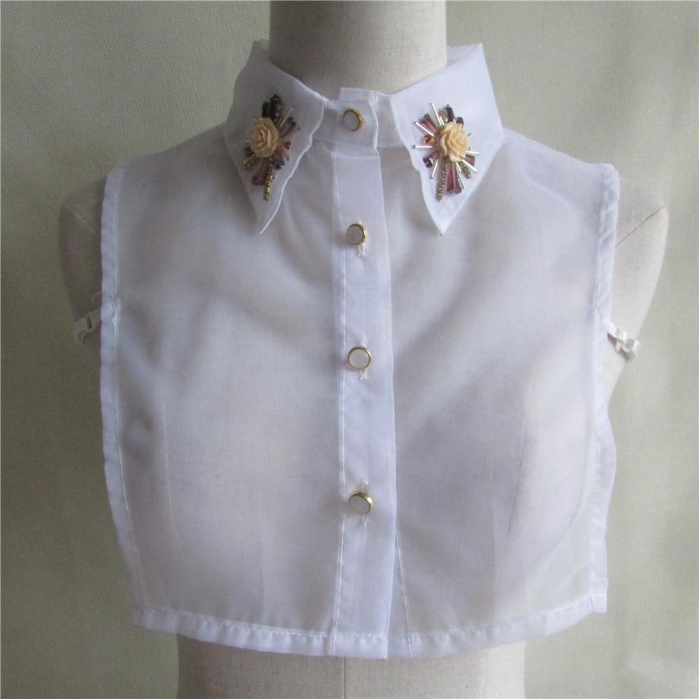 1pcs Sell Solid Shirt Fake White Organza Blouse Vintage Detachable