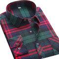 Homens Casual Xadrez de alta Qualidade Camisa Marca Slim Fit Primavera novo 2017 Moda Homens de Negócios Vestido De Flanela de Manga Longa Bolso camisa