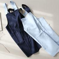 Full Length Blue Brown Cotton Linen Apron Barista Cafe Bistro Salon Uniform Waiter Waitress Baker Florist