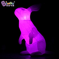 Promotional 3 Meters high big inflatable bunny customized color change LED lighting large inflatable rabbit display toy sports