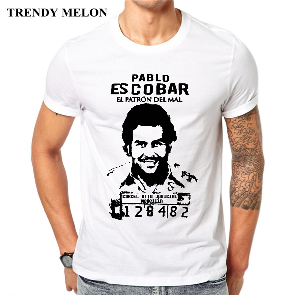 Trendy Melon Funny Character T-shirt Men Pablo Escobar Narcos Cool Customized T shirt Casual Cotton White Tops Tees MP01