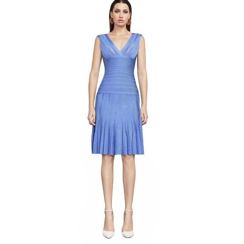 cou De 2019 V Mode Celebrity Gros Lacée Bleu Robe Tempérament Sexy Bleu Party Bal En h2460 Nouvelle marine q0CggY
