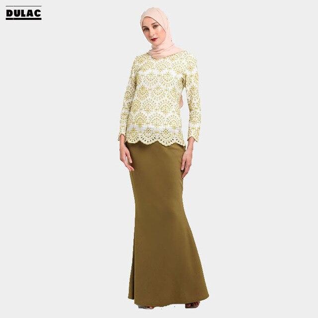Advanced Customization Wholesale Middle East Elegant Lace Women Fashion  Party Long Dress Muslim Embroidered Maxi Baju Kurung 1429dead8032