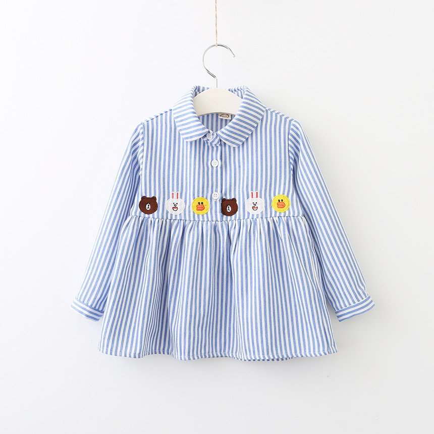 Babies Striped Shirts dresses Kids Girls cotton Cartoon Dress Baby Girl Fashion Autumn Clothing 2017 childrens