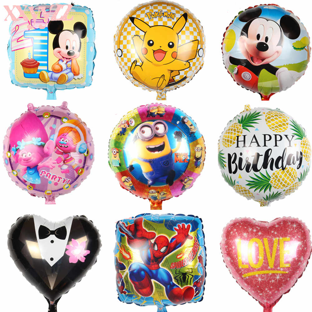 XXYYZZ 18 Inch Birthday Heart Air Balls Aluminum Foil  Happy Birthday Party Decorations Kids Helium Balloons Party Supplies