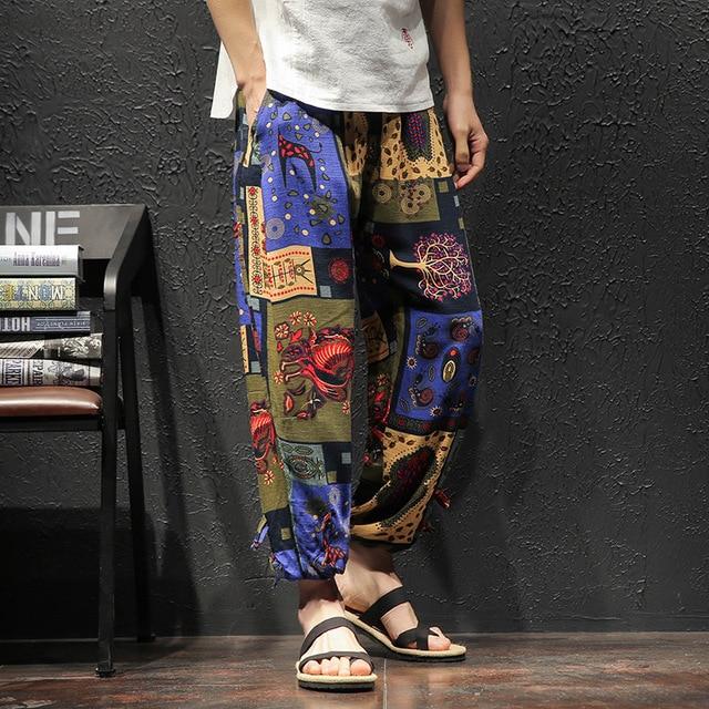 Men Harem Pants Vintage Hip Hop Baggy Wide Leg Pants Streetwear   Elastic Waist Printed Boho Trousers Male Cross Pants GM103 75