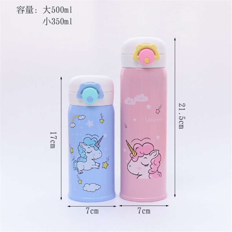 350ml and 500ml Thermal Flask and Unicorn Mug with Strainer for Warm Milk and Water 1