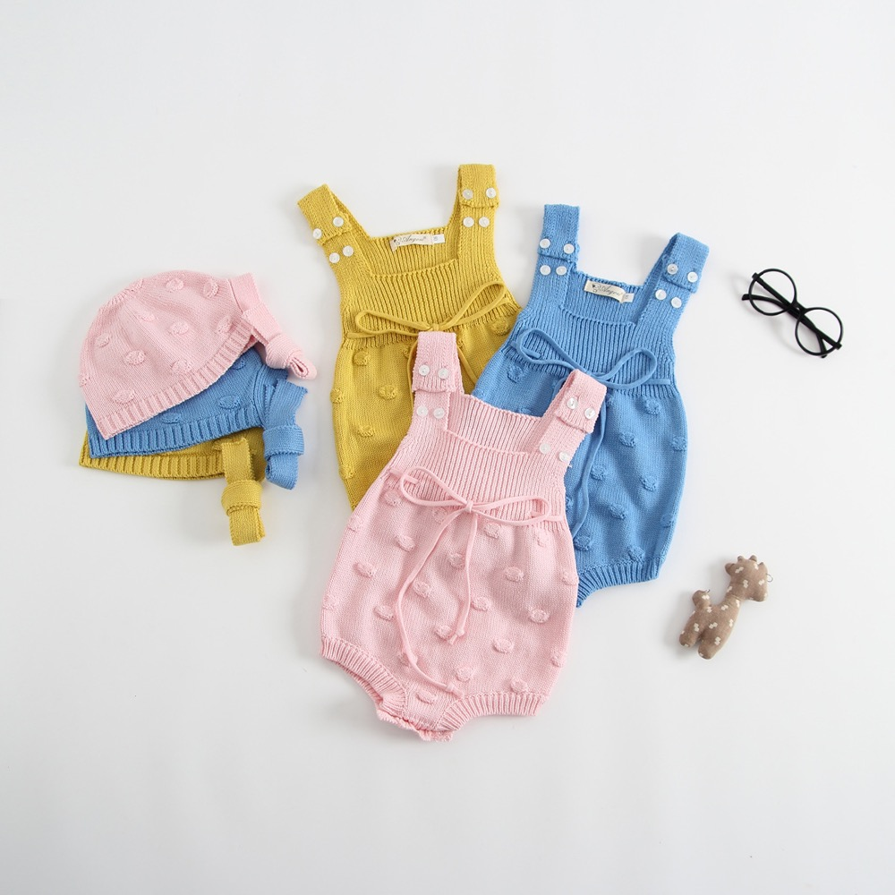Ins Sweet Toddler Baby Girls Candy Knitted Sweater Rompers with Hats Pink Blue Yellow Color Cute Children Clothes