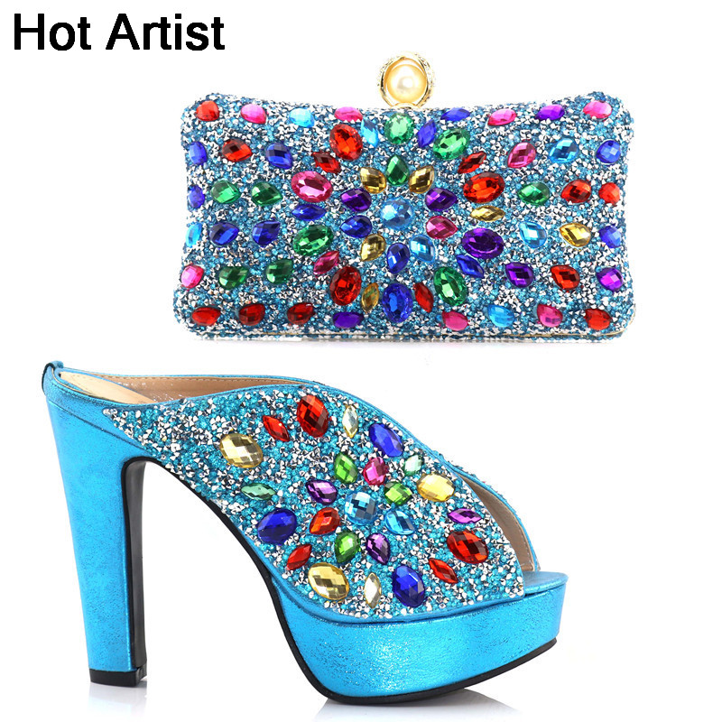 Hot Artist High Quality Italian Woman Sky Blue Heels Shoes And Bag Set African Style Rhinestone Woman Shoes And Bag Set TX-S831 hot artist high quality pu leather shoes and handbag set italian style rhinestone pumps shoes and woman bag set for party yk 185