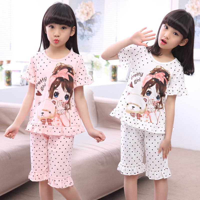 Summer Children's Sleepwear Cotton Short-sleeves Shirt and Pant Suit Girls Family Pajamas Kids 3-12T Pyjamas Children Costumes