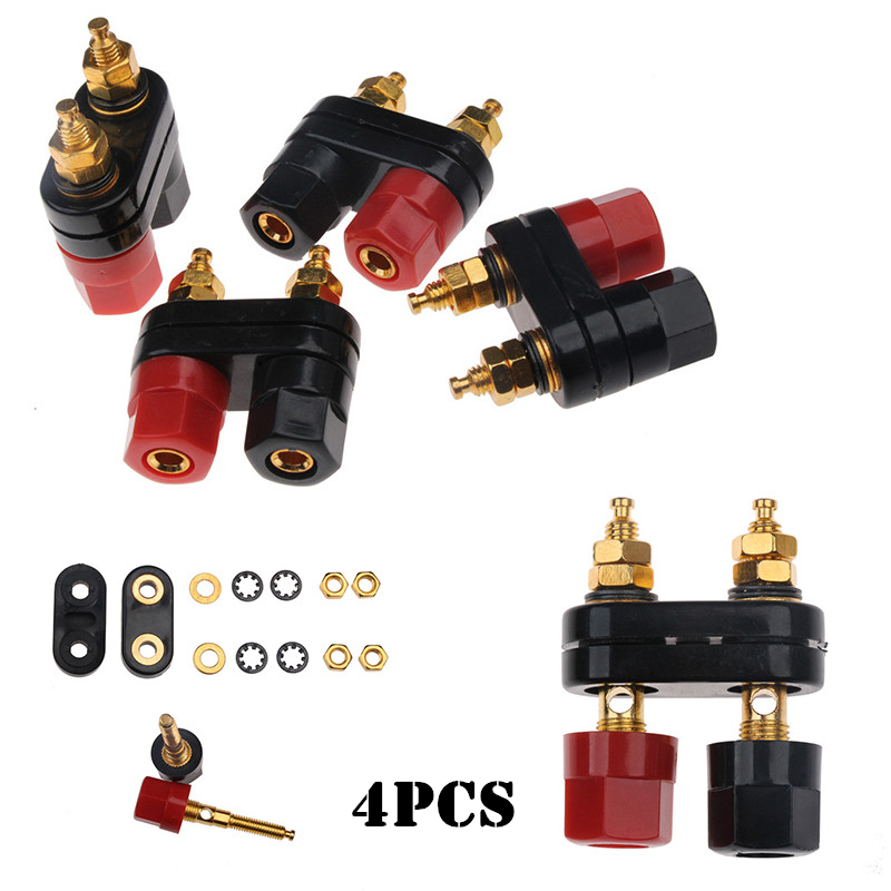 4Pcs Dual 2- Way Gold-Plated Speaker Binding Posts Set Banana Connectors for 4mm Sockets Plugs Union Terminal Red/Black speaker binding posts terminal 4mm sockets 5pcs black for banana plugs