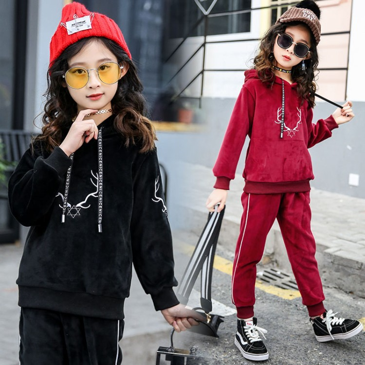 Kids Clothing Set Outfits Spring Fall Baby Girl Hoodies Gold velvet + Sport Causal Pants Two Piece Set Top and Pants Sport Suit spring outfits for kids