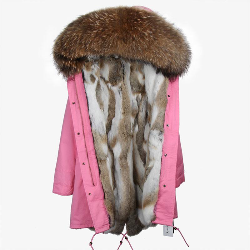 MAOMAOKONG 2018 lange jas jas Parka Mujer Jas plus size winter natuurlijke wasbeer parka zwart bontvoering jas - 6