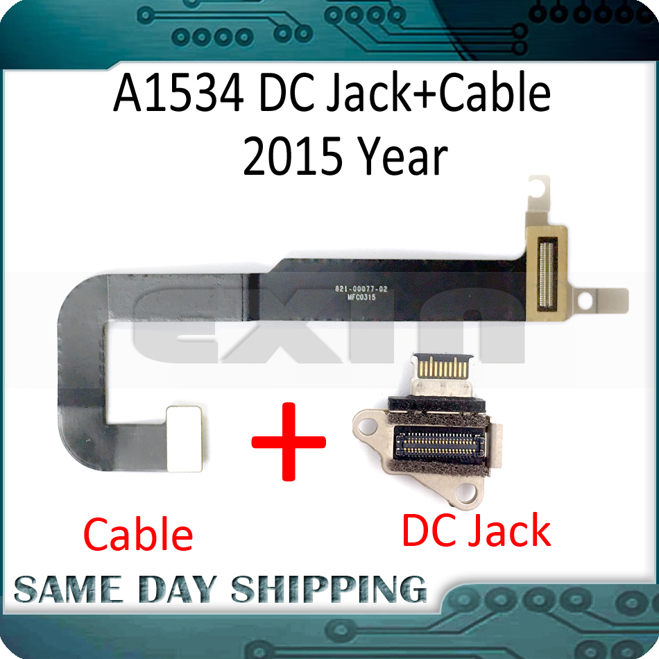 Laptop A1534 DC-IN I/O USB C Charging Power DC Jack Board Connector with Cable for MacBook Retina 12 A1534 2015 2016 2017 Year image