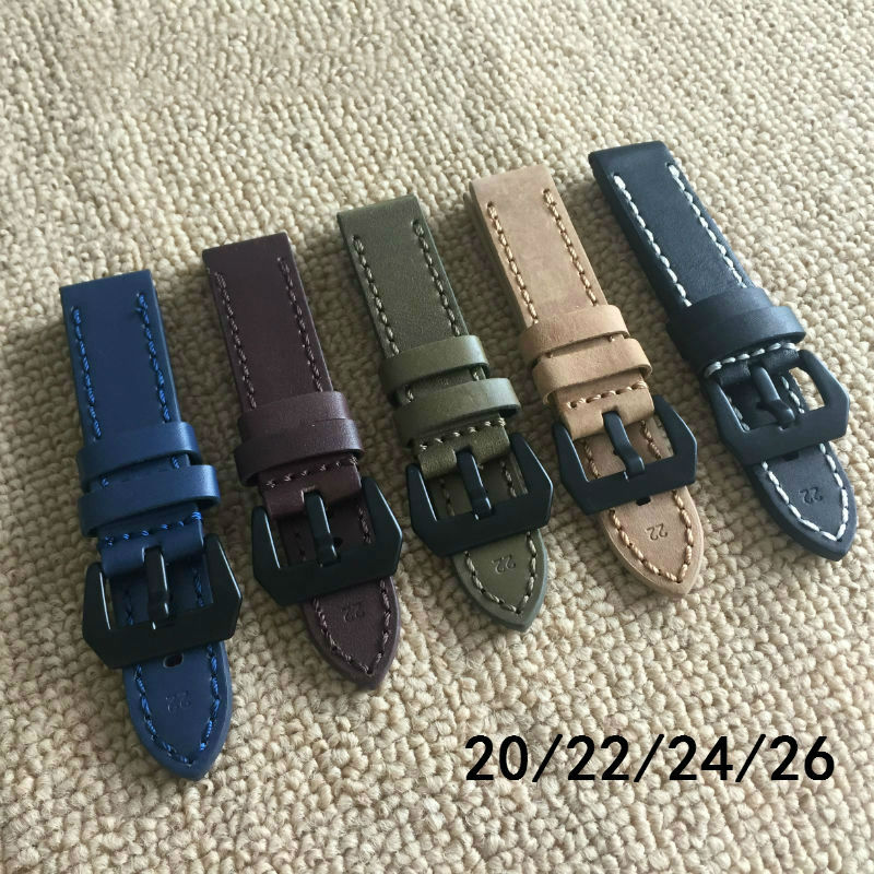 2017 New blue high quality leather watch 22MM 24MM 26MM Fashion handmade With bamboo sea belt for Panerai Straps Men Watch band new matte red gray blue leather watchband 22mm 24mm 26mm retro strap handmade men s watch straps for panerai