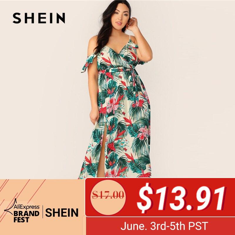 SHEIN плюс размер многоцветное Платье макси с открытыми плечами и оборками, с поясом, с разрезом на бедрах 2019 женские летние платья на тонких б...