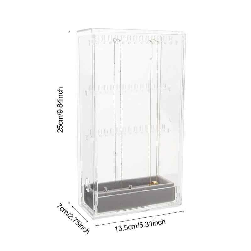 Прозрачный акриловый косметический Органайзер для ювелирных изделий бархатная кольцевая вставка серьги ожерелье заклепки подвесной шкаф с ящиками стенд полка дисплей