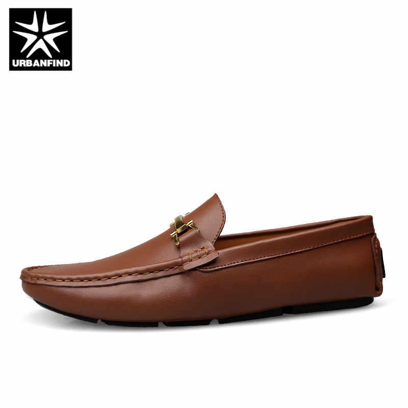 URBANFIND Italiaanse Heren Schoenen Casual Merken Slip Op Formele Luxe Schoenen Mannen Loafers Mocassins Echt Leer Bruin Rijden Schoenen