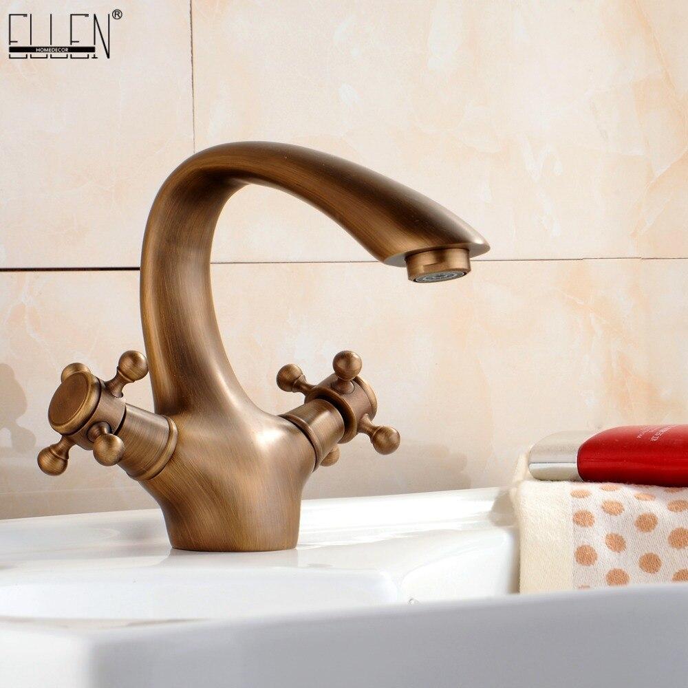 Antigo Torneira de Bronze Escovado Pia Roma Estilo Europeu Banheiro Torneiras de Água Quente e Fria Pia Bacia torneira Misturadora de Cozinha Do Vintage