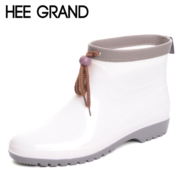 HEE GRAND Women Rainboots Flexible Drawstring Rubber Boots Fashion Rainning Shoes For Woman XWX5825