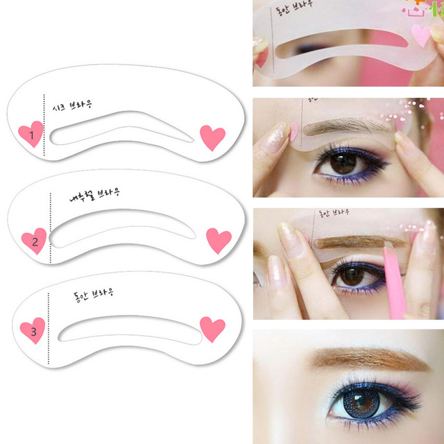 3 Styles/Set Grooming Stencil Kit Shaping DIY Beauty Eyebrow Template Make Up Tool Environmentally Friendly Silicone Card