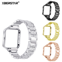 XBERSTAR Watchband For Fitbit Blaze Smart Fitness Watch Replacement Strap Band Rhinestone Stainless Steel With Frame