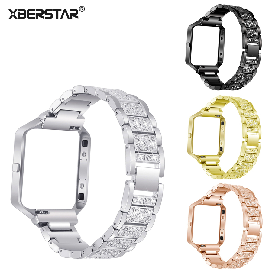 XBERSTAR Watchband for Fitbit Blaze Smart Fitness Watch Replacement Strap Band Rhinestone Stainless Steel with Frame 4 Colors crested stainless steel watch band for fitbit charge 2 bracelet smart watch strap for fitbit charge2 with connector