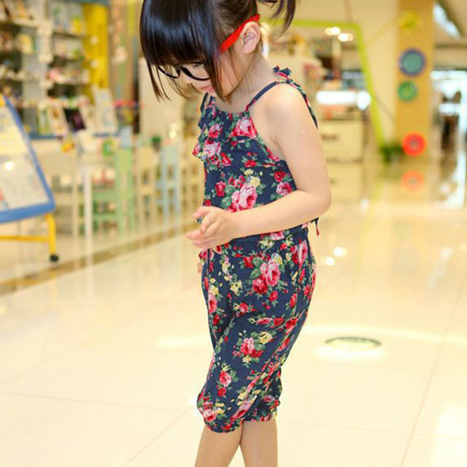 2016 New Toddler Girls Kids Jumpsuit Short Summer Playsuit Soft Clothing One piece 3 11Y Drop