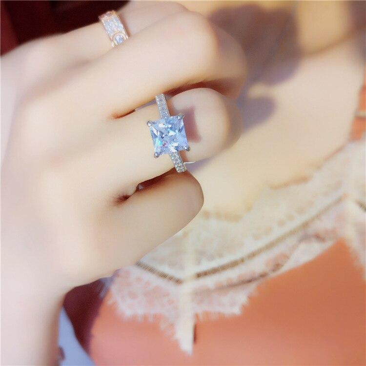 XI FAN juste fiançailles anneaux de mariage cubique zircone argent CZ pierre 925 bijoux en argent sterling pour les femmes anel gros XF105 - 6